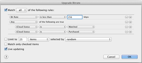 How to replace low bit rate tracks with higher quality tracks from iTunes Match